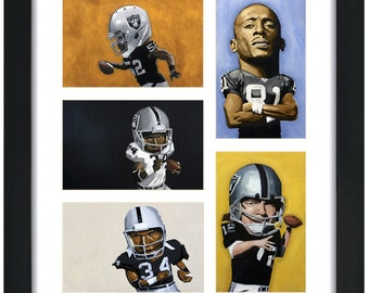 SALE. Oakland Raiders Value Pack 5 Art Prints for UNDER 20 dollars Khalil Mack / Tim Brown / Bo Jackson / Ken Stabler