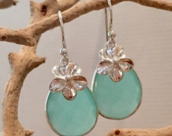 Pear-shaped Peruvian Chalcedony and Plumeria Earrings