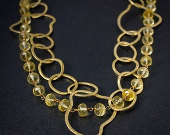 Gold Citrine Statement Necklace - Free Form Vermeil Gold Hoops - Layering Necklace