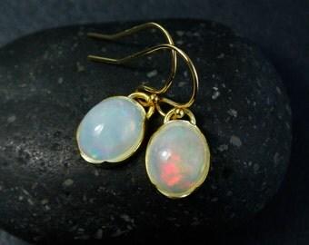 Australian Opal Oval Earrings, Oval Dangle Earrings, Choose Your Setting
