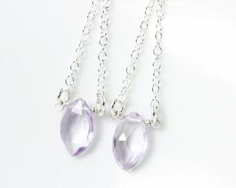 Silver Marquise Pink Amethyst Dangle Earrings - Dainty Amethyst Earrings