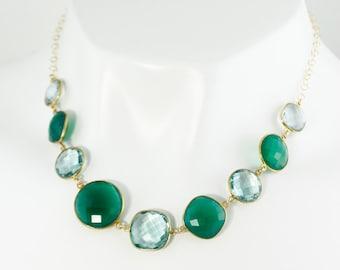 Gold Green Onyx & Aqua Quartz Bib Necklace - Green Bib Necklace - 14Kt Gold Filled
