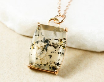 Monochromatic Dendrite Quartz Necklace - Clear Dendritic Quartz - Minimalist