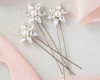 Set of 3 crystal and pearl apollo bridal bridesmaids hairpins