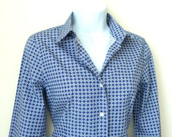 Shirt - Womens - Pure Cotton - Royal Blue - White - Preppy Pattern - Soft - Classic - Timeless - Made in Italy - Recycled - Eco Friendly