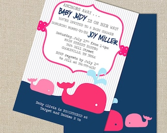 Whale Baby Girl Shower Invitation - Splash of Hot Pink and Navy Blue - Digital Printable File