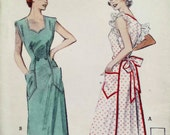 Vintage 1950s Apron Pattern Full Coverall Wraparound Apron Shaped Neckline and Pockets Optional Ruffle Trim Butterick  5744 One Size