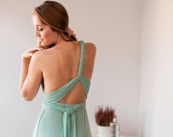 SALE 20% OFF Short sage green dress, Short sage green bridesmaid dress, Sage green infinity dress short, Dusty shale short dress