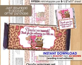 sweet leopard baby shower candy bar wrappers regular mini wrappers cheetah print pink brown jungle printable