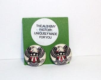 Tattoo Flair Earrings, Retro American Eagle Stud Earrings, Vintage Style Eagle Earring, Rockabilly Jewelry, Americana Jewelry