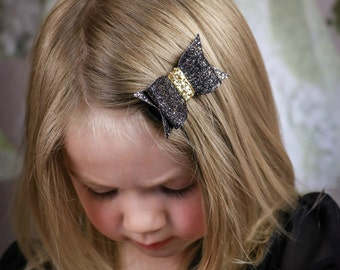 Black And Gold Glitter Hair Bow, Gold And Black Felt Hair Bow, Hair Bow, Piggy Tail Bow, Black Hair Bow, Holiday Hair Bow, Bows For Girls