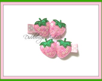 Pink Strawberry Hair Clips, Strawberry Hair Clips, Sequin Strawberry Hair Clips, Piggy Tail Hair Clips, Toddler Clips, Summer Clips,