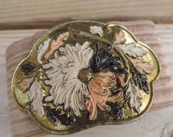 tan floral stretch belt 80s elastic belt wasp waist flower buckle small medium