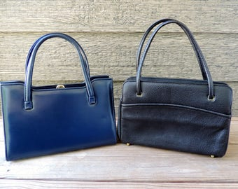 1960s handbag collection vintage classic purse lot navy blue and black proper lady bags