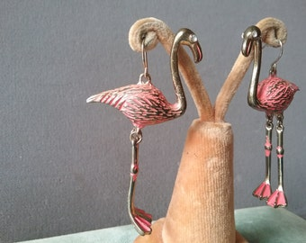 Vintage Pink Flamingo Earrings Fun Tropical Figural Birds