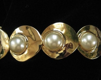 Chunky Gold and Faux Pearl Bracelet