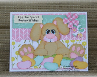 Spring Easter Bunny Handmade Paper Piecing 3D Greeting Card
