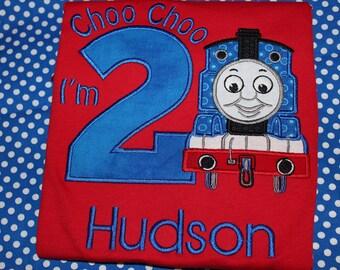 Choo Choo I'm 2 Train birthday tshirt, or dress for boy or girl- any number you choose colors