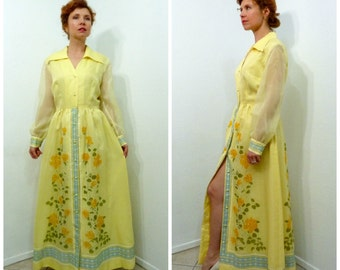 Vintage 60s dress ALFRED SHAHEEN Yellow Floral Print Robe Dress