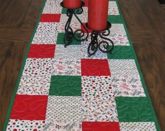 Red and Green Christmas Quilted Table Runner