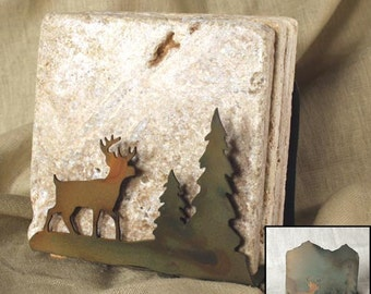 Natural Travertine Coasters w/ Organic Patina Holder - Deer