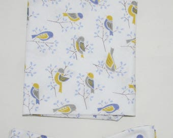 Men's Bow-tie & Pocket Square set - Springtime , Birds, birds in trees, dawn chorus, men's gift set