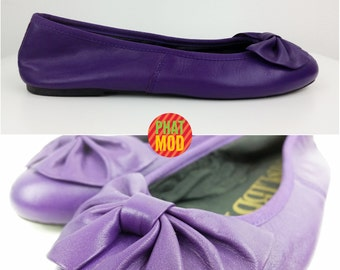 Adorable Vintage 90s Purple Bow Flats Shoes by Sam & Libby!
