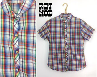 Retro 60s 70s Blue, Red, Yellow Plaid Cotton Blouse with Peter Pan Collar!