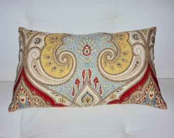 FREE SHIPPING 16x10 Linen Paisley Decorative Lumbar Pillow