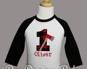 Raglan Lumberjack Birthday Shirt or Bodysuit, Lumberjack Raglan Birthday Shirt or Bodysuit, First Birthday Bodysuit, Axe, Buffalo Plaid