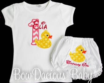 Rubber Duck First Birthday Outfit, Duck Birthday Set, Birthday Shirt and Bloomers, Custom Birthday Outfit, Personalized Birthday Outfit