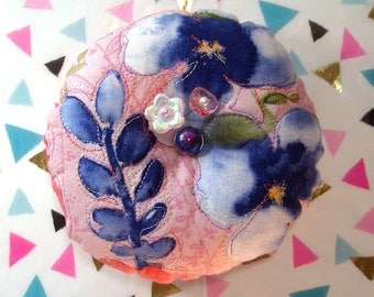 "Pincushion Kathy Davis ""Scatter Joy"" Print, Quilted top and FreeMotion Stitching, Pansies on Pink- Ready to Ship"
