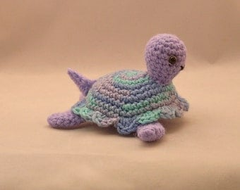 Turtle Amigurumi, Handmade, Crocheted, Stuffed Turtle, Sea Turtle,Lavender Turtle, Variegated Shell, Turtle Plushy,