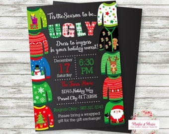 Ugly Sweater Party Invitation - Christmas Invitation - Christmas Party Supplies - Christmas Party Invitation - Holiday Party Supplies