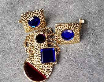 Park Lane Necklace Earrings Sapphire Blue Red