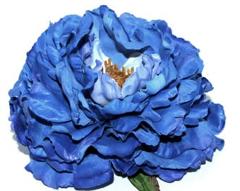 Royal Blue with Violet Boutique Peony  - Silk Flowers, Artificial  Flower Heads - Limited Quantities