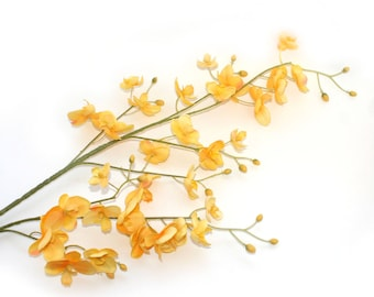 Yellow Mini Phalaenopsis Orchid Branch - silk flowers- artificial flowers