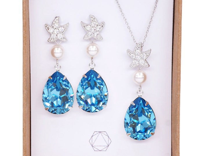 Starfish - Cubic Zirconia Starfish Aquamarine Swarovski Crystal Teardrop Earrings Necklace Set, Bridal, Beach Wedding Earrings, Bridesmaids