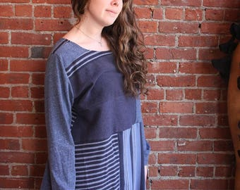 Upcycled womens clothing-plus size-patchwork tunic- eco clothing- blue stripes xl xxl - A line- long tunic- 100 percent cotton