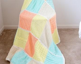 SALE - Pastel Knitted Throw Blanket Afghan