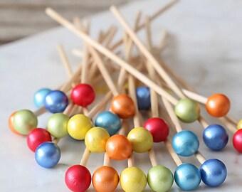 Happy Rainbow Lollipop Sticks, Rainbow Cake Pops Sticks, Rock Candy Sticks, Candy Kabob Stick, Marshmallow Pop Sticks, Rainbow Party
