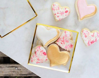 Clear Truffle Boxes with Gold Trim, Clear Candy Boxes, 4 Piece Candy Boxes, Chocolate Boxes, Gold Candy Boxes, Gold Truffle Boxes