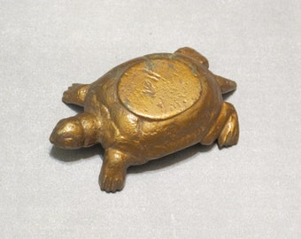Vintage Gold Tone Metal Turtle Figurine Incense Burner / Small Golden Tortoise Dish Tea Light Candle Holder Primitive Rustic Home Decor