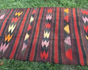 "Subtle colours, 7 ft 9 x 3 ft 11"" Long Wool Runner  Rug/Kilim 236 x 120 cm. Flatweave.  Tapis"