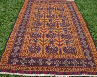 "Elaborately woven 6 ft  3""  x 4 ft 7"".  Qalaino Tribal Rug/Kilim. Traditional. 190 x 140 cm Tapis"