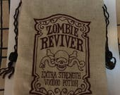 Neutral Linen Bag With Embroidered Zombie Reviver - Steampunk, Tarot, Oracle, Gaming Dice