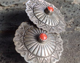 Coral Sterling Concho Earrings