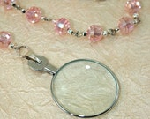 Magnifier Monocle Pendant Necklace, Magnifying Pink Glass Crystal Beaded Necklace with lens diopter +11