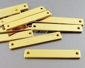 4 high shine gold finish 30mm x 5mm long flat bar blanks, gold blank bar pendats for stamping 2084-BG