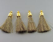 4 gold metallic + black 30mm small tassels, tassel with gold bail loop, tassel earrings, bohemian jewelry 2041G-GB-30 gold black